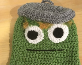 8198ffb325c Handmade crocheted Oscar the Grouch ear flap hat