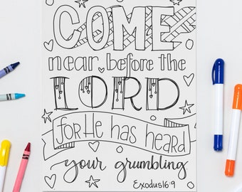Come Near Before the Lord- Exodus 16:9 Printable Coloring Page
