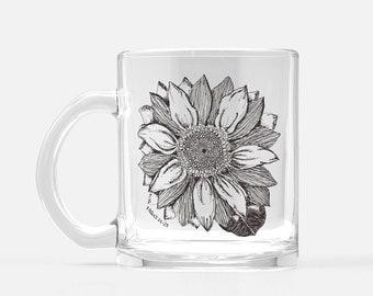 Sunflower 1 Peter 1:24-25 - Clear Glass Mug