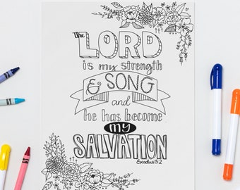 The Lord is my Strength and Song - Exodus 15:2 Printable Coloring Page