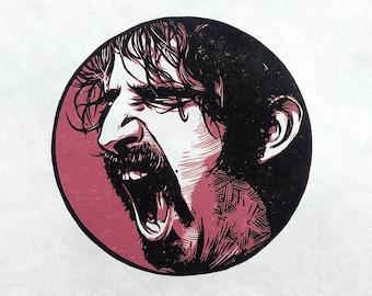 Z is for Frank Zappa linocut print