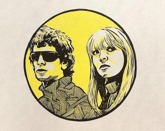 V is for The Velvet Underground and Nico linocut print
