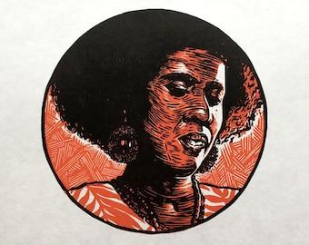 A is for Alice Coltrane linocut print