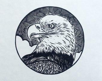 Eagle linocut print