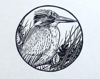 Kingfisher linocut print