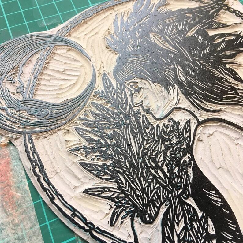 Vernal Equinox linocut print