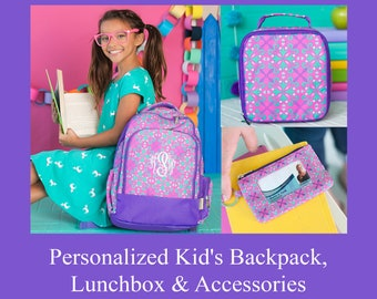 Lila Personalized Backpack, Lunchbox, Pencil Pouch   Preschool Backpack   Monogrammed Backpack
