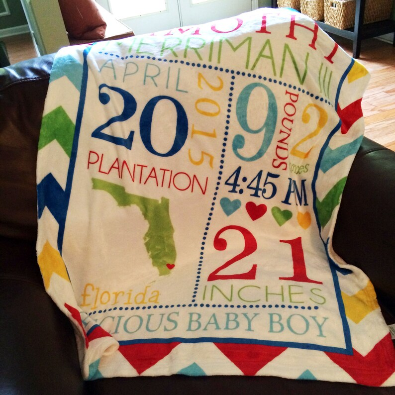 Personalized Baby Blanket  Baby Stats Blanket  Baby image 0
