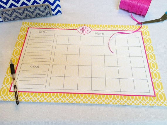 Calendar Note Pad Or Desk Planner Design Your Own Etsy