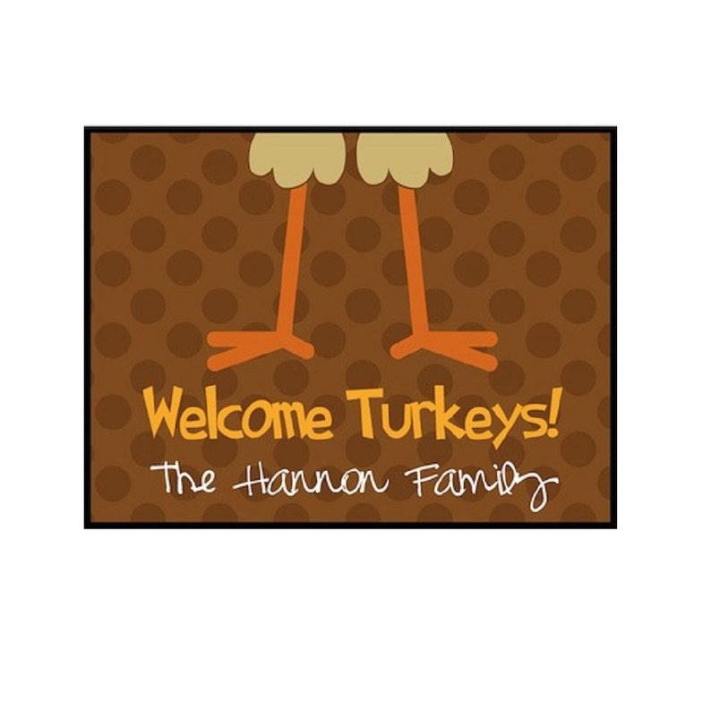 Thanksgiving Door Mat  Turkey Legs image 0