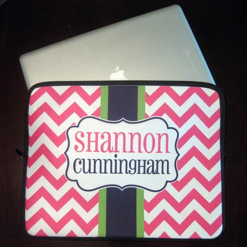 Personalized Chevron Laptop Sleeve  Monogrammed Laptop Case image 0