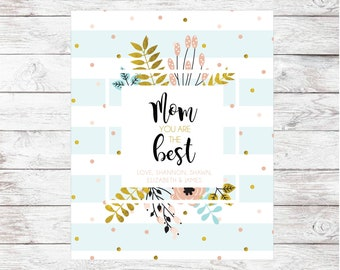 Personalized Mother's Day Blanket   Custom Blanket for Mom   Confetti Floral Blanket for Mother's Day