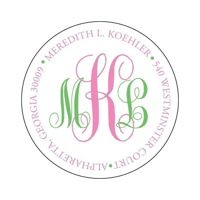 Two Color Monogrammed Round Address Label Stickers  Monogram image 0
