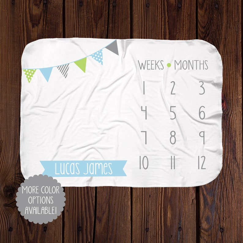 Personalized Milestone Blanket  Boy Banner Monthly Blanket  image 0