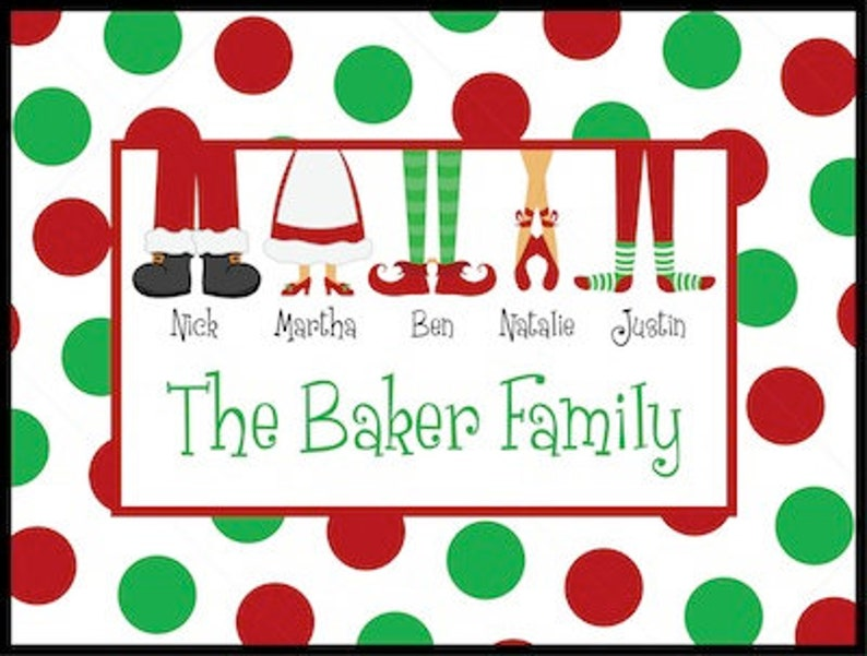 Personalized Door Mat  Family Feet  Christmas image 0