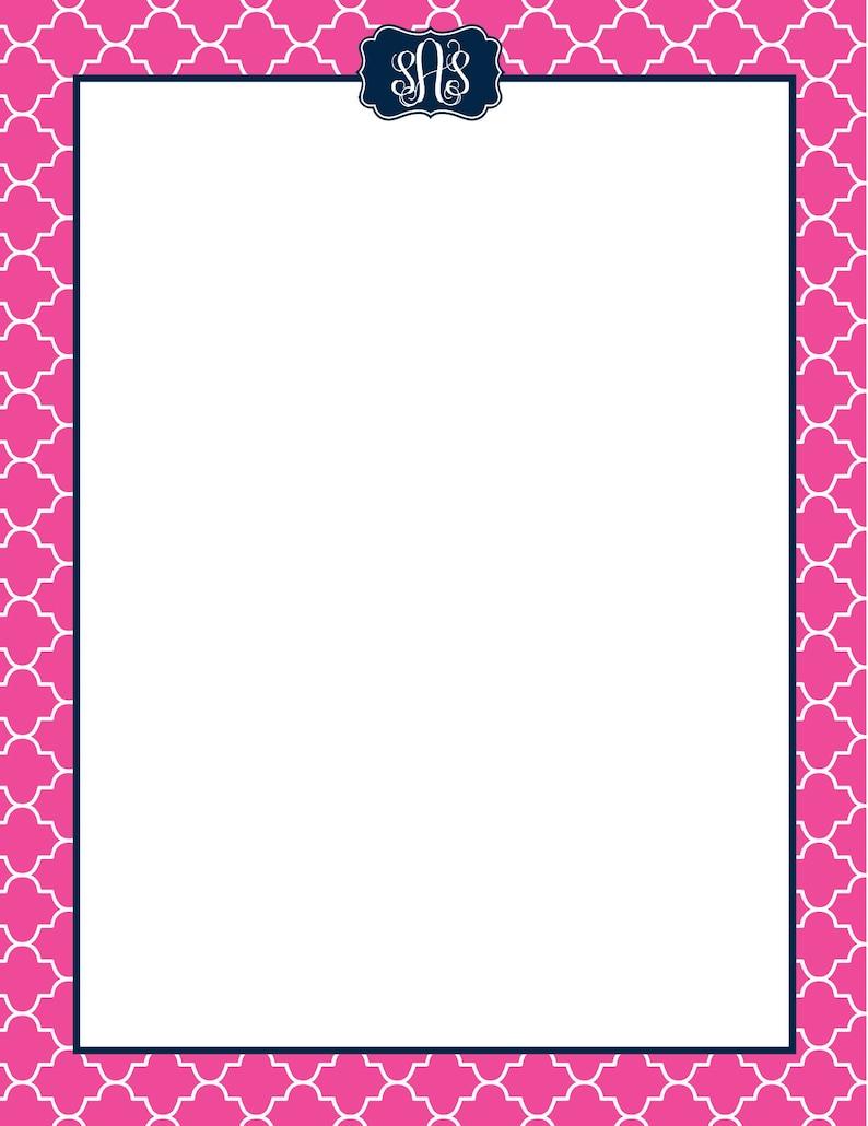 Custom Monogrammed Letterhead  Resume Paper  Sorority image 0