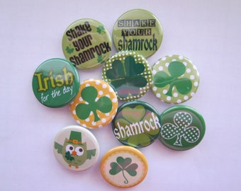 set of 10 1.25 inch st patricks day  pinback buttons, flatback buttons or hollowback buttons or magnets