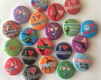 """Gymnastics and gymnast themed set of 20 1"""" or 1.25 inch gymnastics buttons pin flat back, hollowback or magnets"""