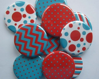 "set of 10 1"" or 1.25 inch pinback buttons, flatback buttons or hollowback buttons"