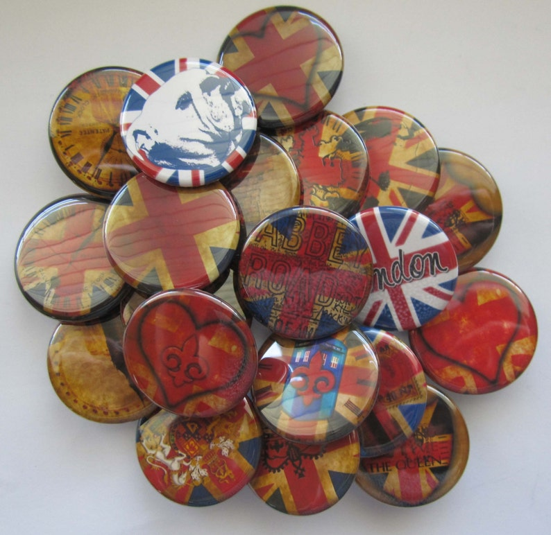 set of 20 1 or 1.25 inch buttons pinback flatback or hollowback