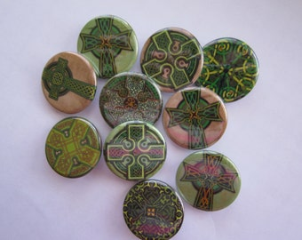 "set of 10 1"" or 1.25 inch pinback buttons, flatback buttons or hollowback buttons or magnets"