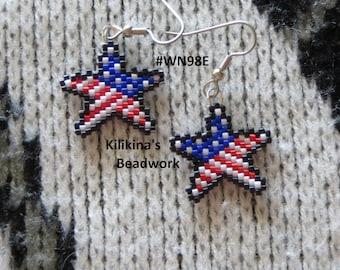 Beaded USA Patriotic Earrings ~ Native American Style Beaded Earrings