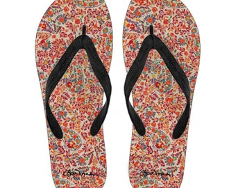 f5ce2740ccae4f Retro Paisley Canvas and Vinyl Flip Flops- Men s and Women s  S