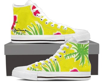 6f06bc7d81df74 Strawberry Tropic Men s Black and White High Top Canvas Sneakers