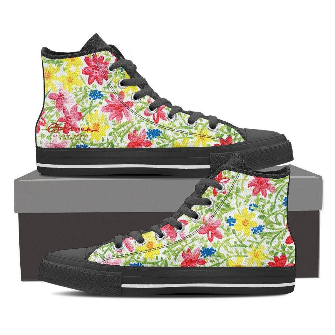Wildflower Women's Black and White High Top Canvas Sneakers