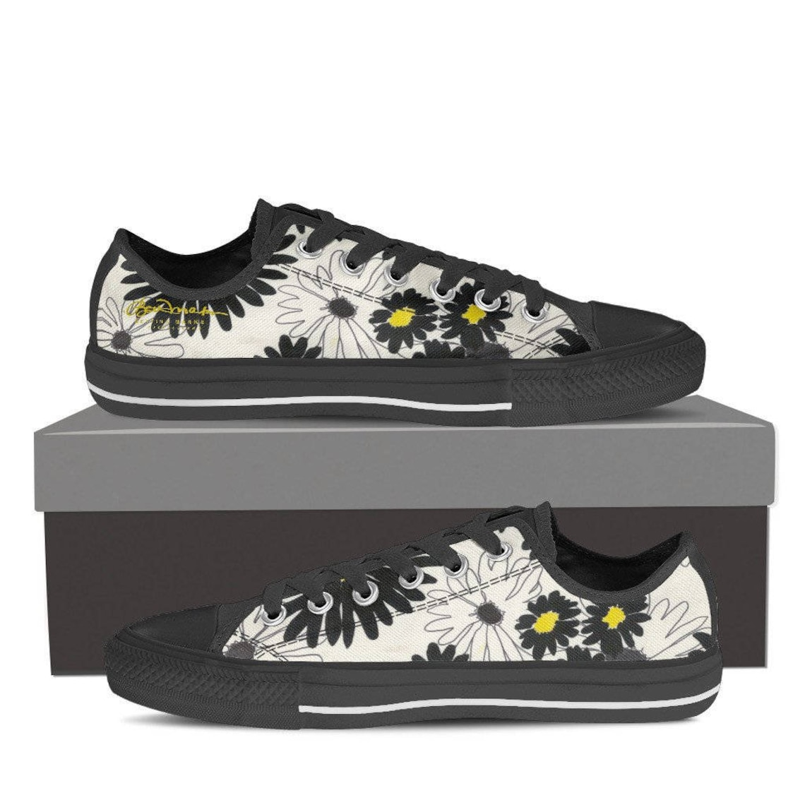Daisy Women's Black and White Low Top Canvas Sneakers