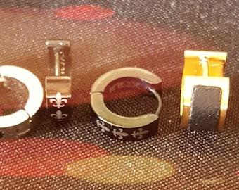 Stainless Steel Fleur de Lis Cuff Pierced Earrings (4 Variations)
