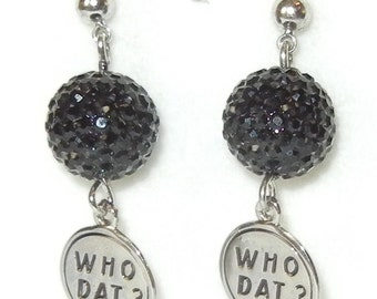 Who Dat? Black or Gold Earrings on Surgical Steel Post or Wire