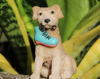 "Rascal the Puppy with Fairy Boot in his Mouth (1.5"" Tall) for the Fairy Garden"