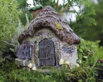 "Ribbet's Ridge Cottage 5"" Tall House with Hinged Door for the Fairy Garden"
