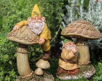 Gnomes Eddie and Freddie  (Choose 1) Eddie on Top of the Mushroom (4.5″ Tall) and Freddie under the Mushroom (3.25″ Tall)