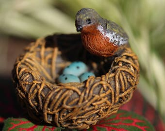"""Red Bird 1"""" Bird Nest with Mother Bird and 3 Eggs (2.25"""" metal pick) for the Fairy Garden"""