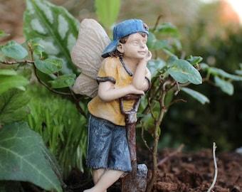 """Fairy Gavin Leaning on His Shovel (3.25"""") for the Fairy Garden"""