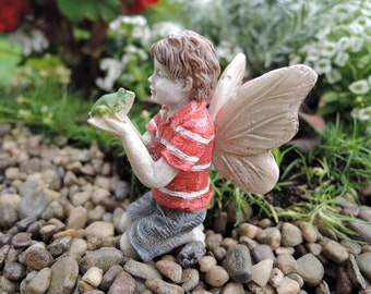 "Fairy Ethan Holding a Frog (2.25"") for the Fairy Garden"