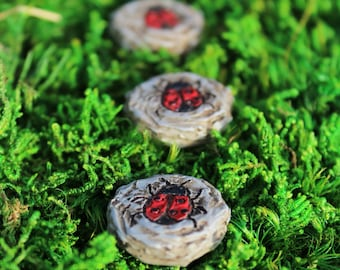 "Lady Bug Stepping Stones (3 to Set) .75"" diameter each for the Fairy Garden"
