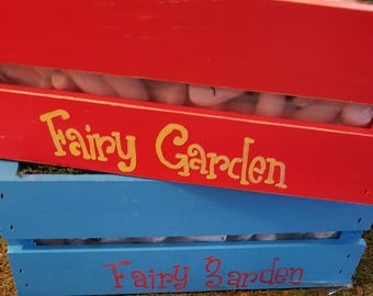 """Lined Fairy Garden Wood Crate Planters 12L"""" x 10W"""" x 5""""W.  Personalize it with your name!"""