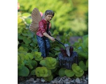 Fairy Huck (axe and log included) for the Fairy Garden