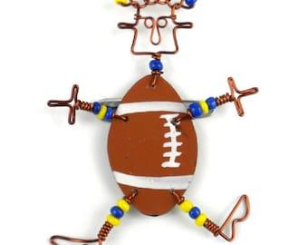 "Dancing Girl Football Pin (2.5"") or Earrings (2"") (Choose One)"