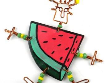 "Dancing Girl Slice of Melon Pin (2.5""-3"") or Earrings (1""-2"") (Choose One)"