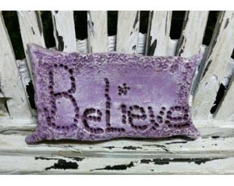"Fairy Believe Pillow (Resin) 1"" h x 1.75 L Square (Chair Not Incl.) for the Fairy Garden"
