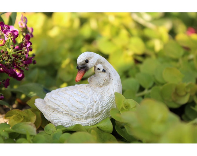 """White Swan and Baby - Mama Loves You - Arriving Early August! (1.25"""" Tall) for the Fairy Garden"""