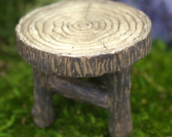 Wood Table Mini  (1.75″ Tall | 2″ Diameter)  (Made of Resin) for the Fairy Garden