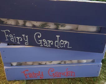 "Lined Fairy Garden Wood Crate Planters 12L"" x 10W"" x 5""W.  Personalize it with your name!"