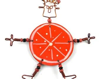"""Dancing Girl Orange Slice Pin (2.5""""-3"""") or Earrings (2"""") (Choose One)"""