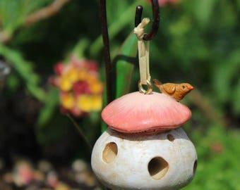 """Mushroom Bird Feeder 1.25"""" for the Fairy Garden (Shepherd's Hook NOT INCL)"""