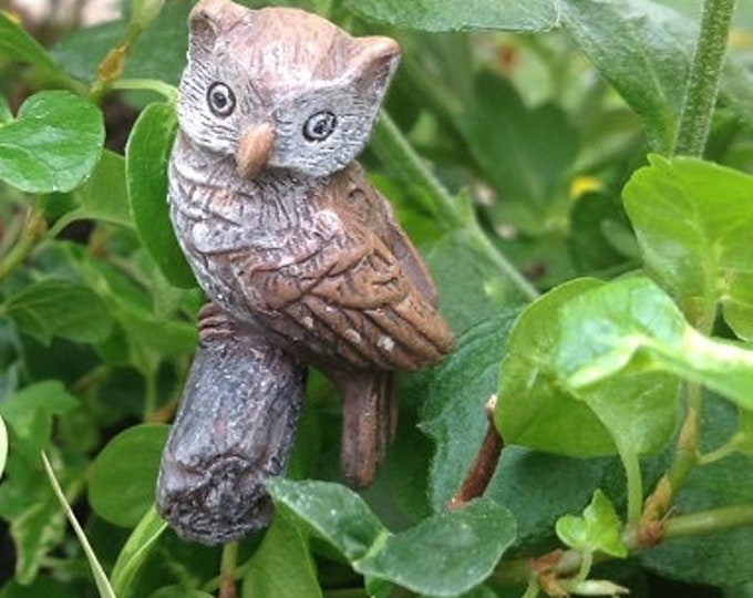 "Hoot Owl (1"" Owl) on Metal Pick for the Fairy Garden"